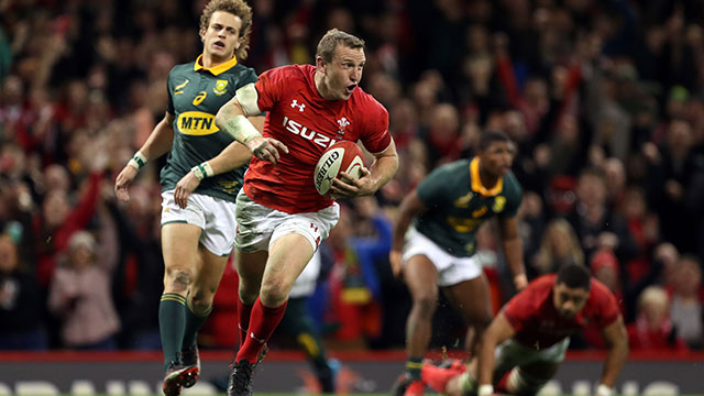 Hadleigh Parkes scores Wales' third try against South Africa